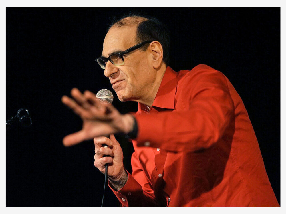 On stage at 'The Bear,' Berlin, storytelling performance.  Photo: Martin Bering
