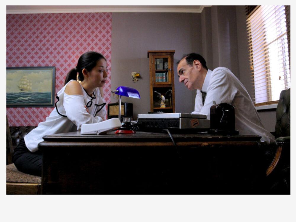 Playing a psychiatrist in the dystopian web series 'Malsano Nomato Amo,' dir. Natalie MacMahon.
